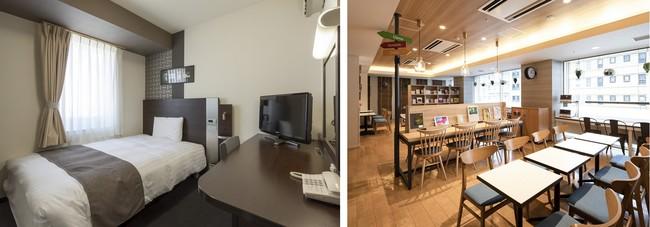 コンフォートホテル東京清澄白河  1ベッドルーム(左)/ テレワークにも使えるComfort Library Cafe(右)