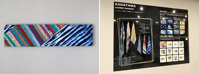 (左)客室に設置しているアートワーク 一例 (右)作品にこめられた想いをロビーでご覧いただけます