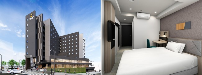 (左)コンフォートホテル名古屋金山 外観 (右)1ベッドルーム