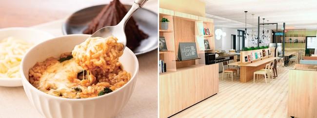 (左)愛知県産味噌を使用した赤だしチーズリゾット (右)朝食会場となるComfort Library Cafe