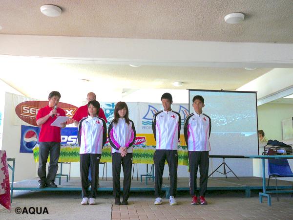 11年前の大会表彰式の様子。川内優輝選手(最左)と水口侑子選手(左から4人目)