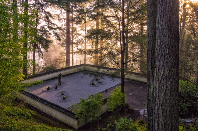 Overlooking the Sand and Stone Garden in the Morning ©︎Portland Japanese Garden Photo by Roman Johnston