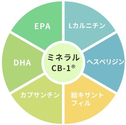 ミネラルCB-1に厳選6成分も配合