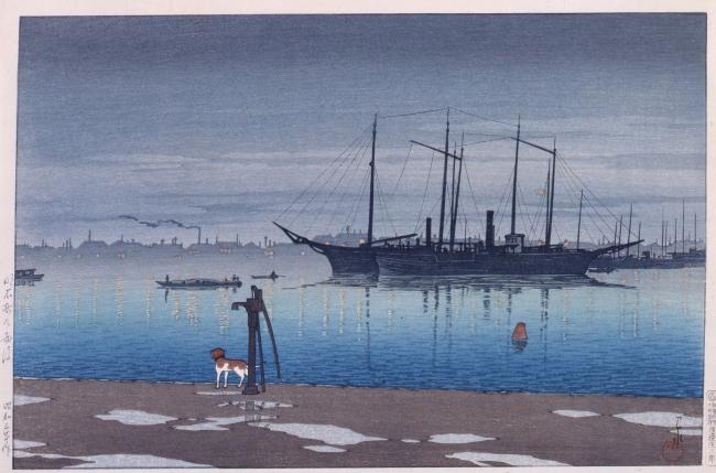 水辺の抒情的な風景 東京二十景 明石町の雨後 川瀬巴水/画 1928年(昭和3) (展示期間:8月4日~8月23日)