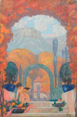 アンリ・ラパン《サント=ヴィクトワール山麓 2人の子どものいるプロヴァンス地方の風景》1920-30年頃