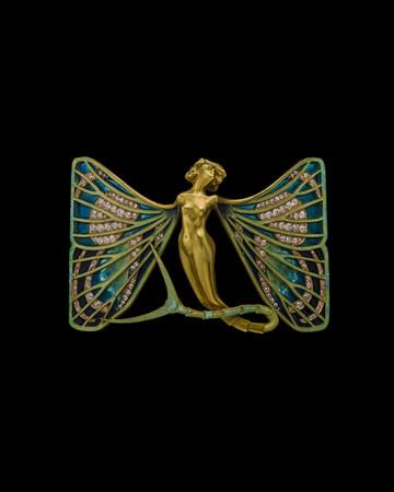 バタフライ・ブローチ《シルフィード》 1900年頃、個人蔵、協力:アルビオン アート・ジュエリー・インスティテュート