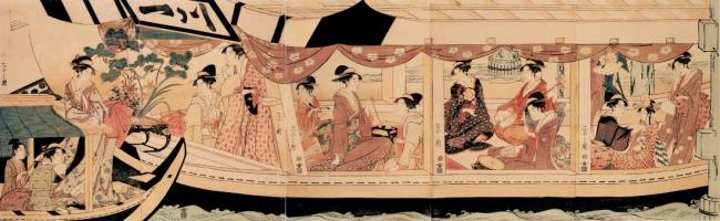 「隅田川舟遊び」 江戸中期 鳥文斎栄之/画 館蔵