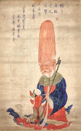 正月の縁起物として飾られた寿老人の絵 寿星老人絵図   朝鮮後期(1592-1863)  京畿大学校 博物館蔵