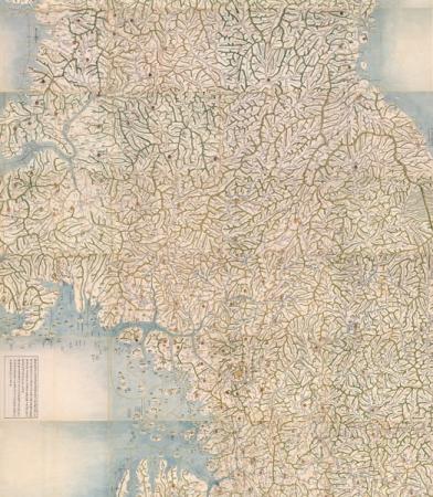 朝鮮時代に制作された最も大きい朝鮮全図 東輿図 1856-1872年 ソウル歴史博物館蔵  重要文化財