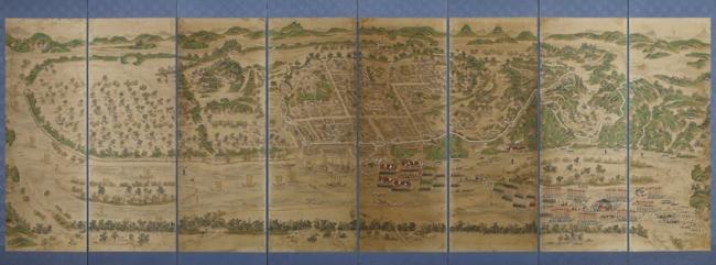 平壌周辺の景観を描いた絵 箕城図屏風 19世紀 ソウル歴史博物館蔵  ソウル市有形文化財