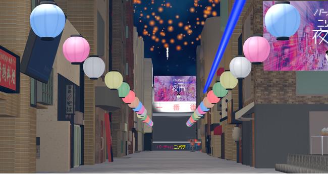 ニシタチのシンボルである通りを彩る提灯を再現し、特設ステージも用意
