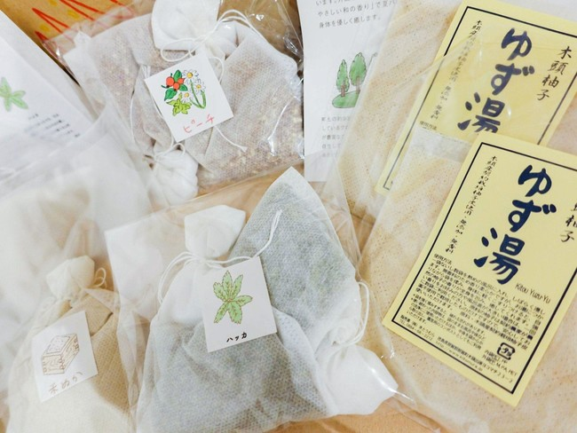 8月のお風呂のもと(米ぬか、ピーチ、ハッカ、ゆず)