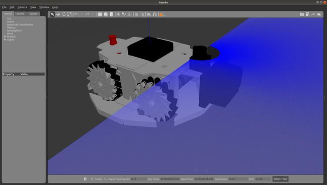 Gazebo上でのシミュレーション実行例