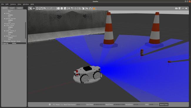 ROS対応3Dシミュレーターモデル メカナムローバー版 実行画面例