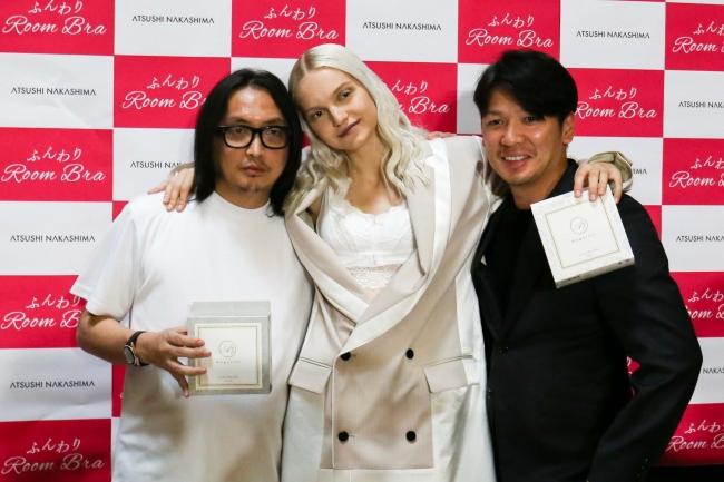 左:ATSUSHI NAKASHIMA 中央:Ellen ふんわりルームブラ着用モデル 右:代表取締役 瀬出井亮