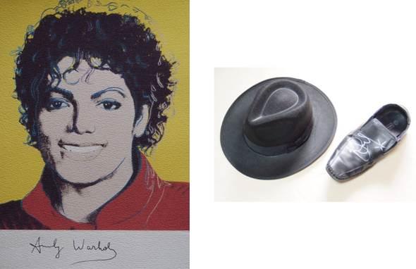 (左)アンディウォーホル『マイケルジャクソン』 (右)マイケルジャクソン使用のサイン入りハット&シューズ