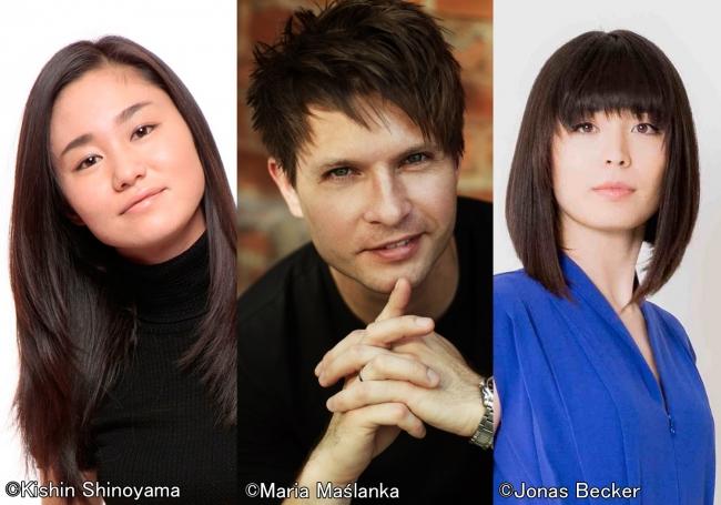 左から、庄司紗矢香、クシシュトフ・ウルバンスキ、アリス=紗良・オット