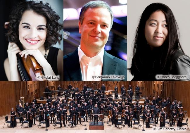左上/アリーナ・ポゴストキーナ、中上/サカリ・オラモ、右上/小菅優、下/BBC交響楽団