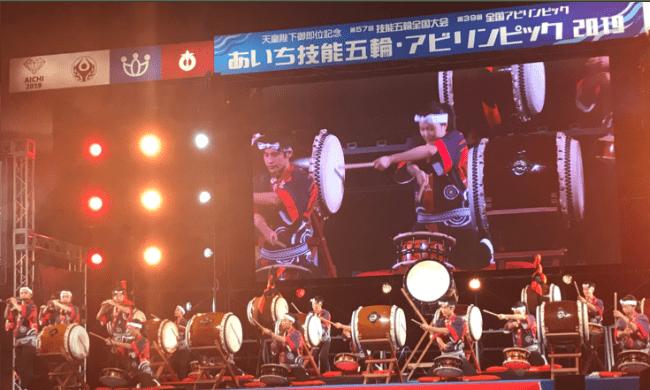 ▲県立松蔭高校和太鼓部によるステージ