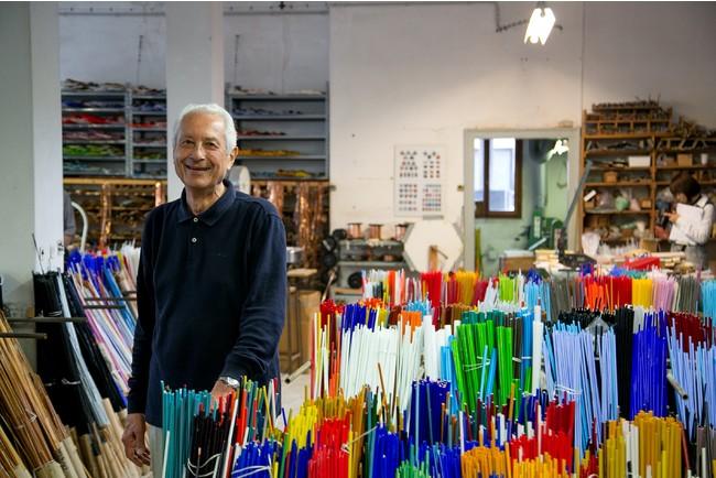 Luciano Morettiとムリーネガラス棒のストック photo by Marta Buso