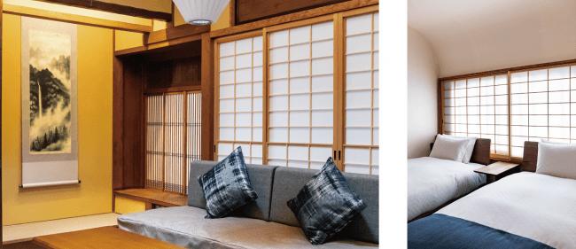 「THE MACHIYA デラックス・スイート (竜)」畳のお部屋もベッドのある洋室も備えている。