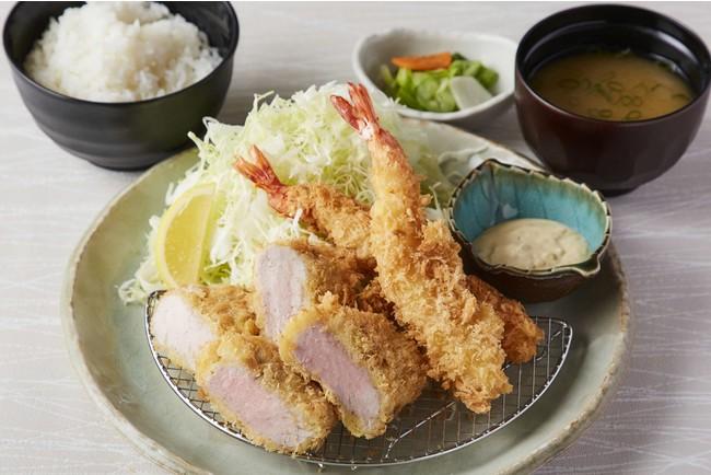 【定食】海老とヒレかつ定食(海老2本、ヒレかつ80g)<ご飯・味噌汁・香の物> 1600円