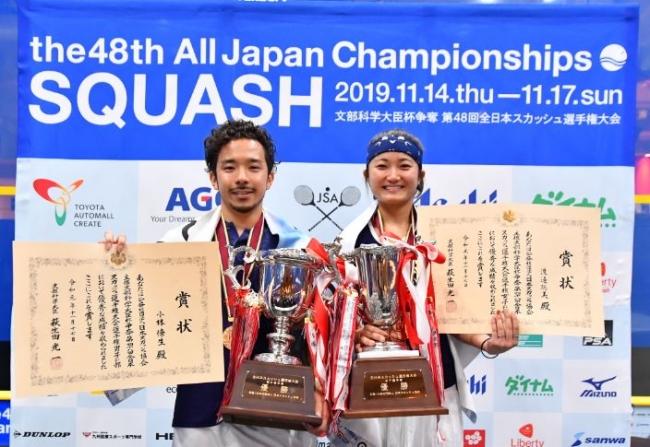 選手権男女チャンピオン(左:小林 僚生選手、右:渡邉 聡美選手)
