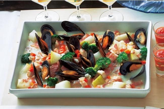 赤魚とムール貝の貝だし豆乳スープ仕立て