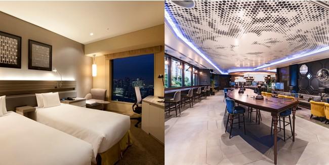 (左)ザ ロイヤルパークホテル アイコニック 東京汐留 客室一例、(右)ザ ロイヤルパーク キャンバス 大阪北浜 キャンバスラウンジ