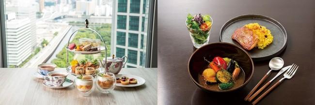 """(左より)Afternoon Tea with SIROCCO """"桃""""、ゴロゴロ野菜の特製スープカレー"""