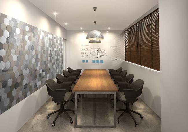 ペンタゴンモチーフを壁面に施した会議室