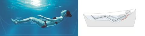 「FLOTATION TUB」入浴イメージ(上、下)