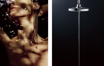 Shower Relaxology「WARM SPA」入浴イメージ(左)と、商品外観(右)