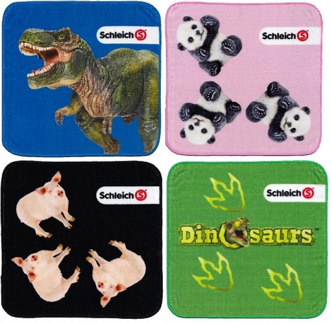 お子様の学校生活でも活躍できる シュライヒ ミニタオルは、4つに折りたたんでもフィギュアが見えるユニークなデザインと大人気のティラノサウルス・レックスのダイナミックなデザインを採用