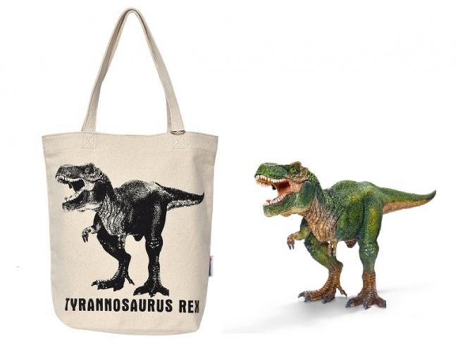 シュライヒ キャンバストート(左)と、モチーフのフュギュア 【ティラノサウルス・レックス】(右)