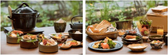 △左から和朝食・洋朝食