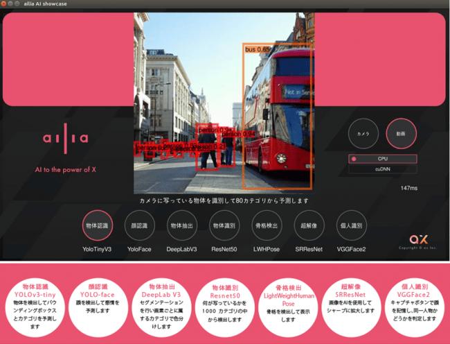「ailia AI showcase」の画面イメージ