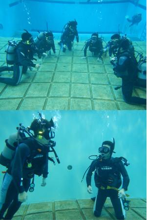 校内の潜水プールでの実習風景