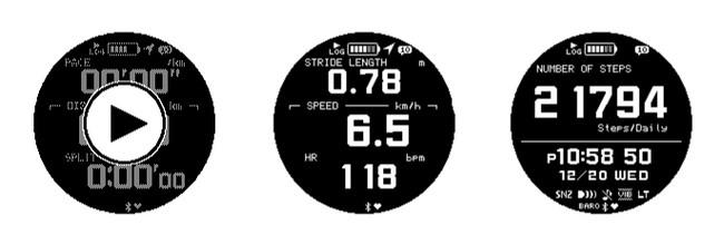 計測開始/計測中表示(歩幅/ウォーキングスピード/心拍)/計測結果(歩数)