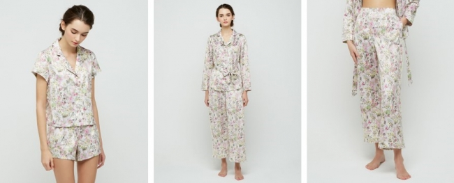 プレストフラワープリントのパジャマ