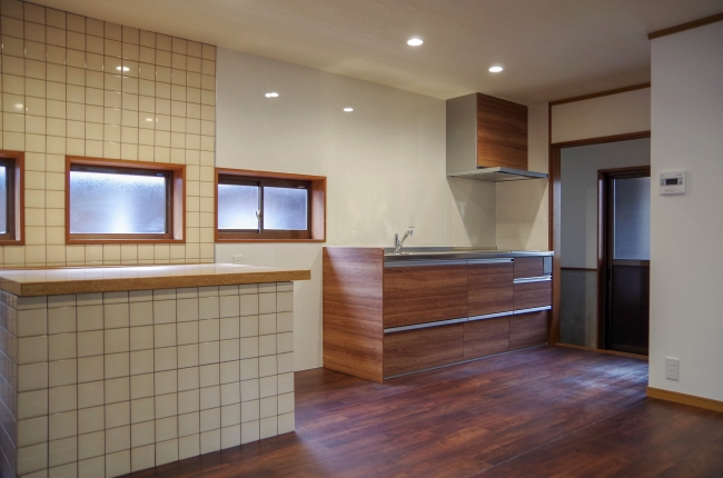 共用キッチン。自由に料理をすることができます。