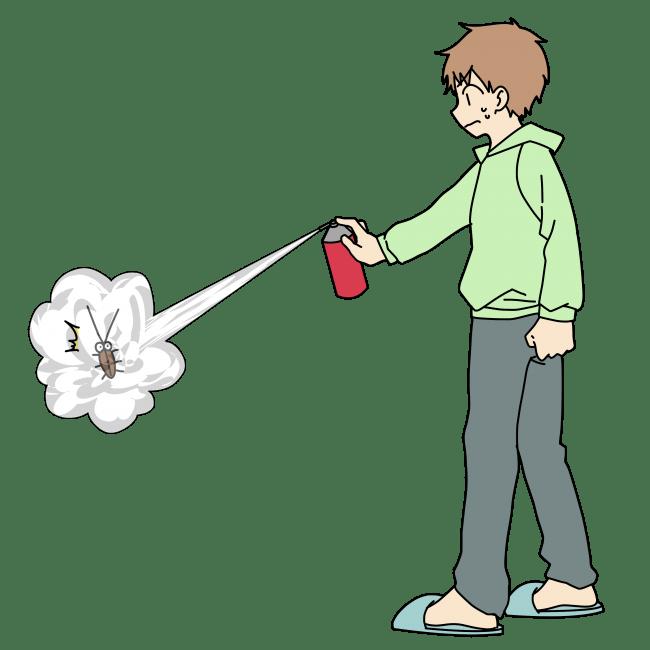 殺虫スプレーをゴキブリに噴射する男性
