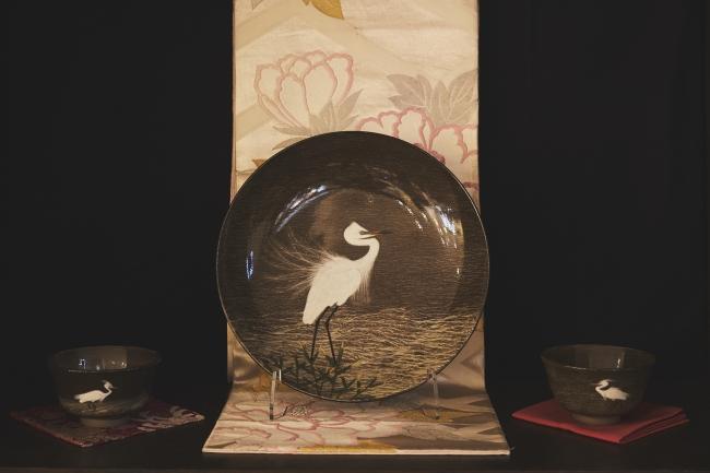 白鷺文絵皿