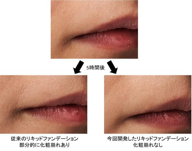 図1 5時間のマスク着用後の化粧持続効果の比較