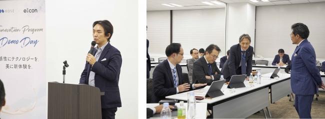 (左)WiL CEO 伊左山元氏 (右)インキュベータ代表 石川明氏と社内審査員