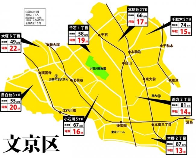 文京区の相続税マップ