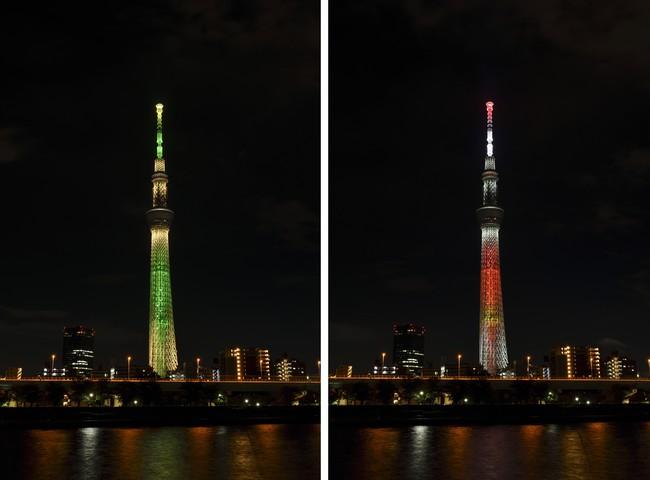 (左)シャンパンツリー (右)キャンドルツリー (C)TOKYO-SKYTREE