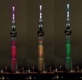 △国連創設75周年特別ライティング(17色のうちの3色、イメージ)(左から)目標1「貧困をなくそう」目標2「飢餓をゼロに」目標3「すべての人に健康と福祉を」(C)TOKYO-SKYTREE