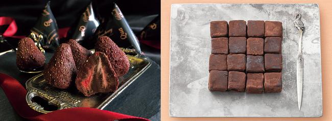 左)<染み込みチョコスイーツQua>ブラックストロベリー(6個入) ¥930/右)<シルスマリア>竹鶴ピュアモルト生チョコレート(16粒入) ¥1,944