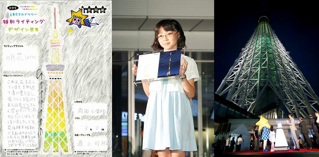 △道上さんが描いた「明花」のデザインと2013年8月24日の点灯式の様子